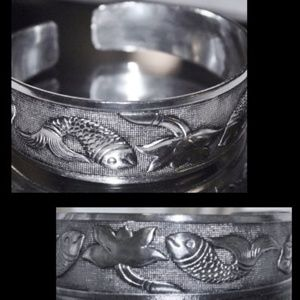 Jewelry - 925 Silver Koi Fish Good Luck Cuff Bracelet 26grms